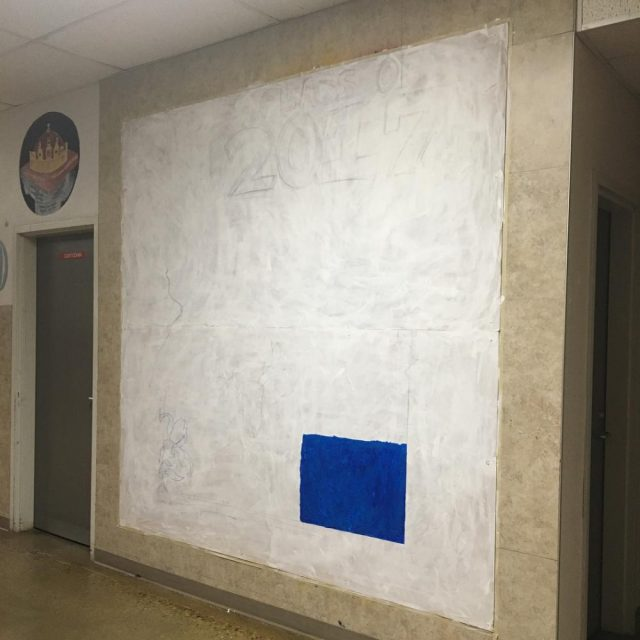 Several stages of the senior mural while it was inhellip