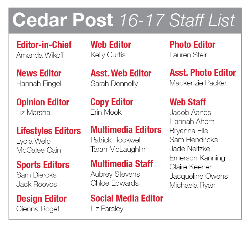 CEDAR POST 2016-17 STAFF LIST