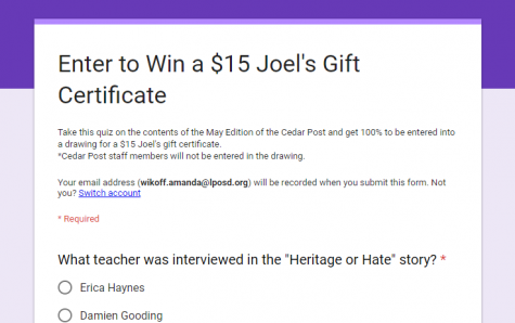 SHS Students – Enter to Win a $15 Joel's Gift Certificate