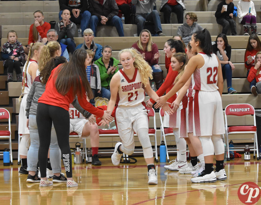Sophomore+Hattie+Larson+is+announced+and+receives+high+fives+from+her+teammates.