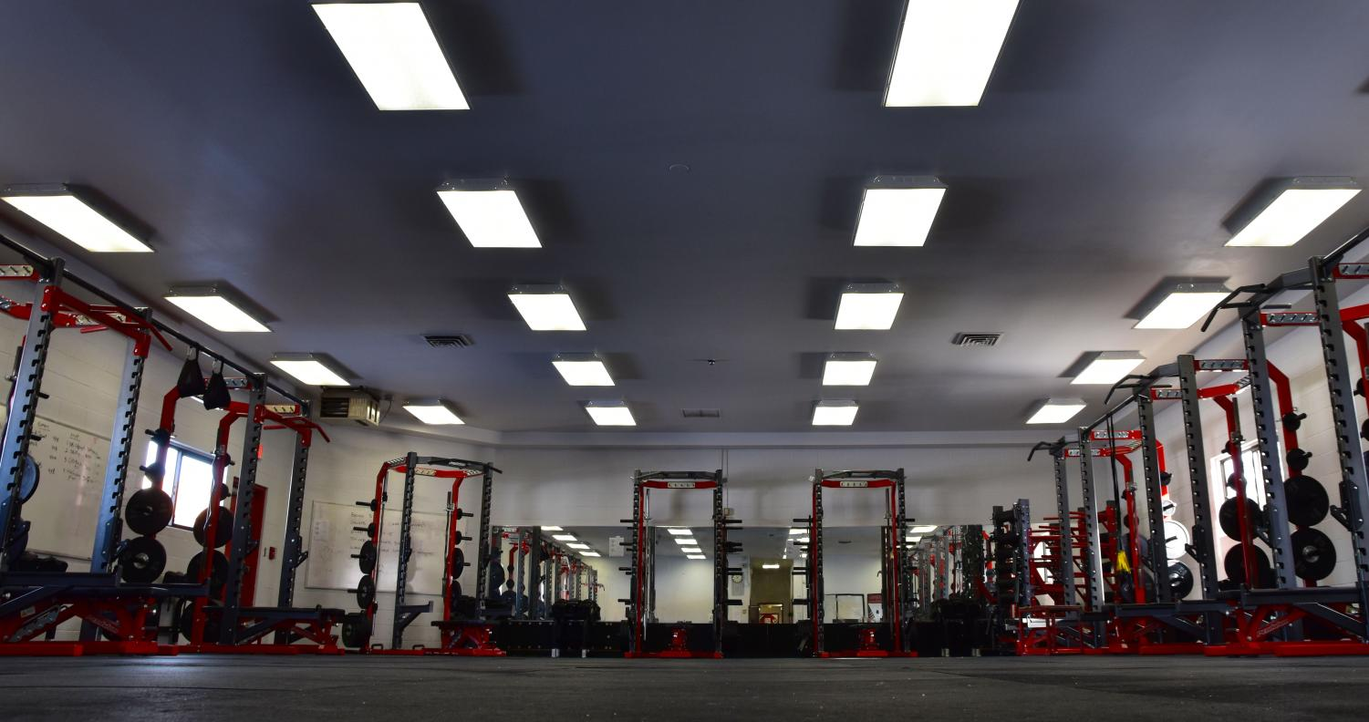 The new weight room offers a variety of equipment, accessible to Sandpoint students and staff.