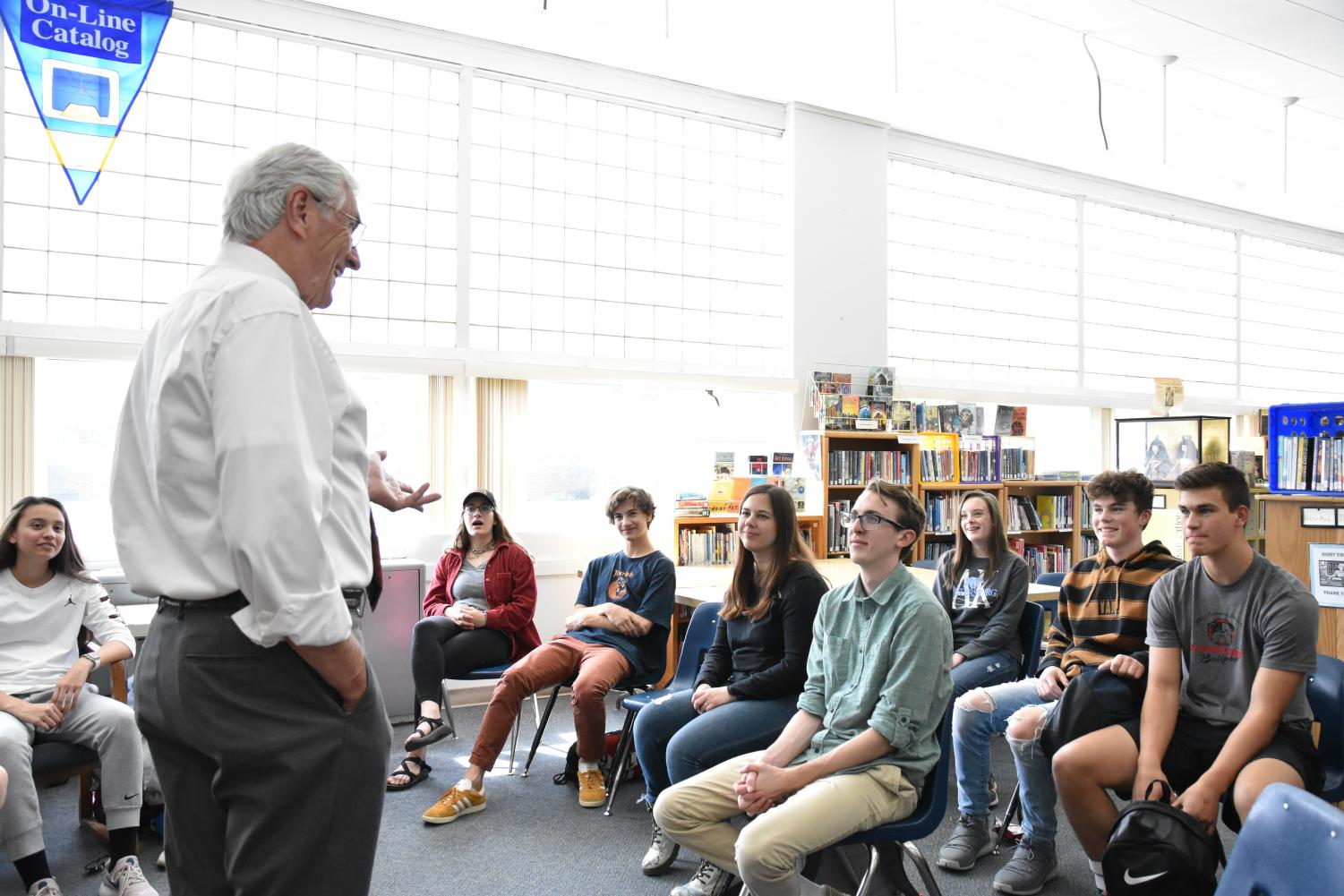 Students take part in a meeting with Bill Dean of McPherson and Jacobson to relay what they hope to see in a new superintendent.