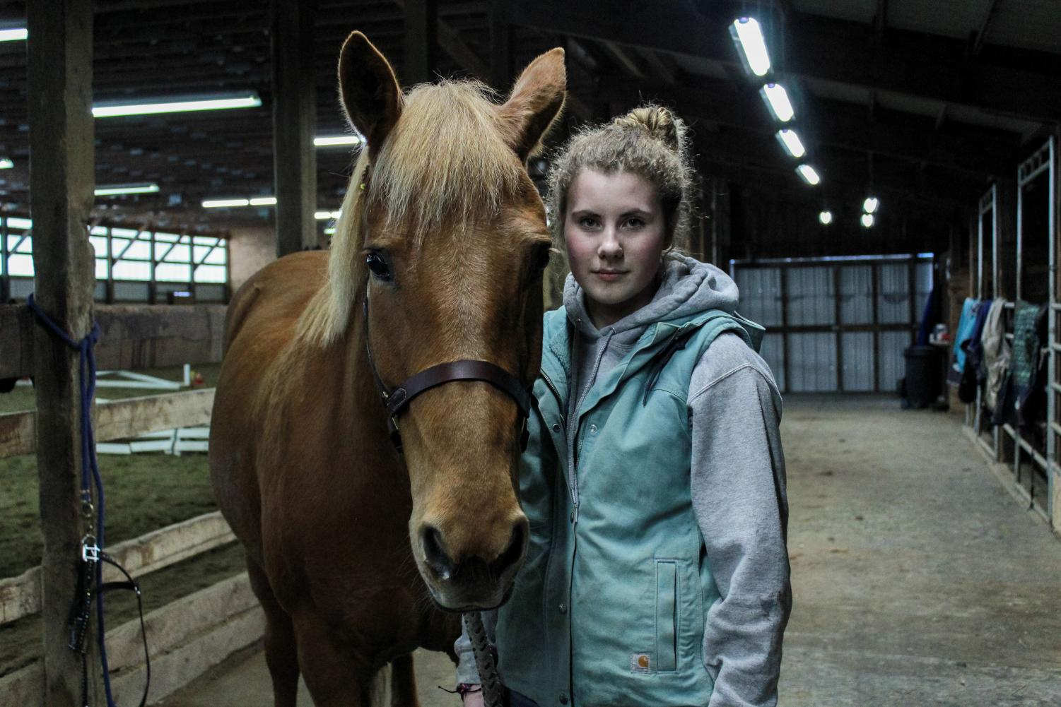 Taylor Sadewic has spent 10 years working with horses. The sophomore want to pursue a career in equine therapy.