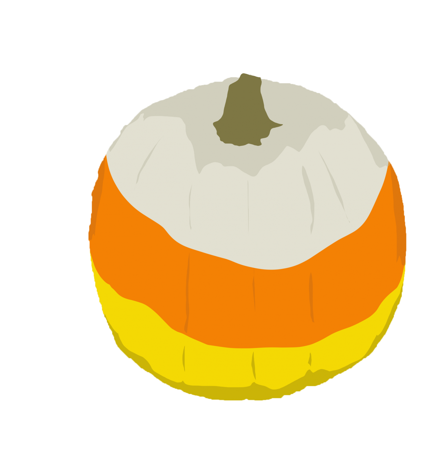 Painting a pumpkin like candy corn is one way to decorate a pumpkin without carving.