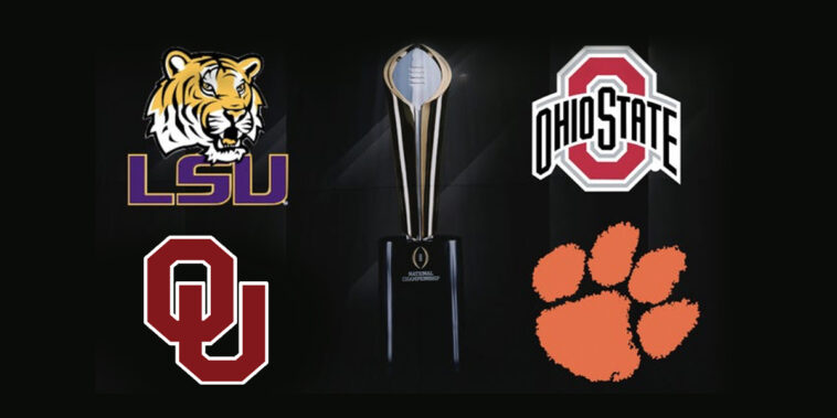 The 2020 College Football playoffs are set as Oklahoma joins LSU, Ohio State, and Clemson.