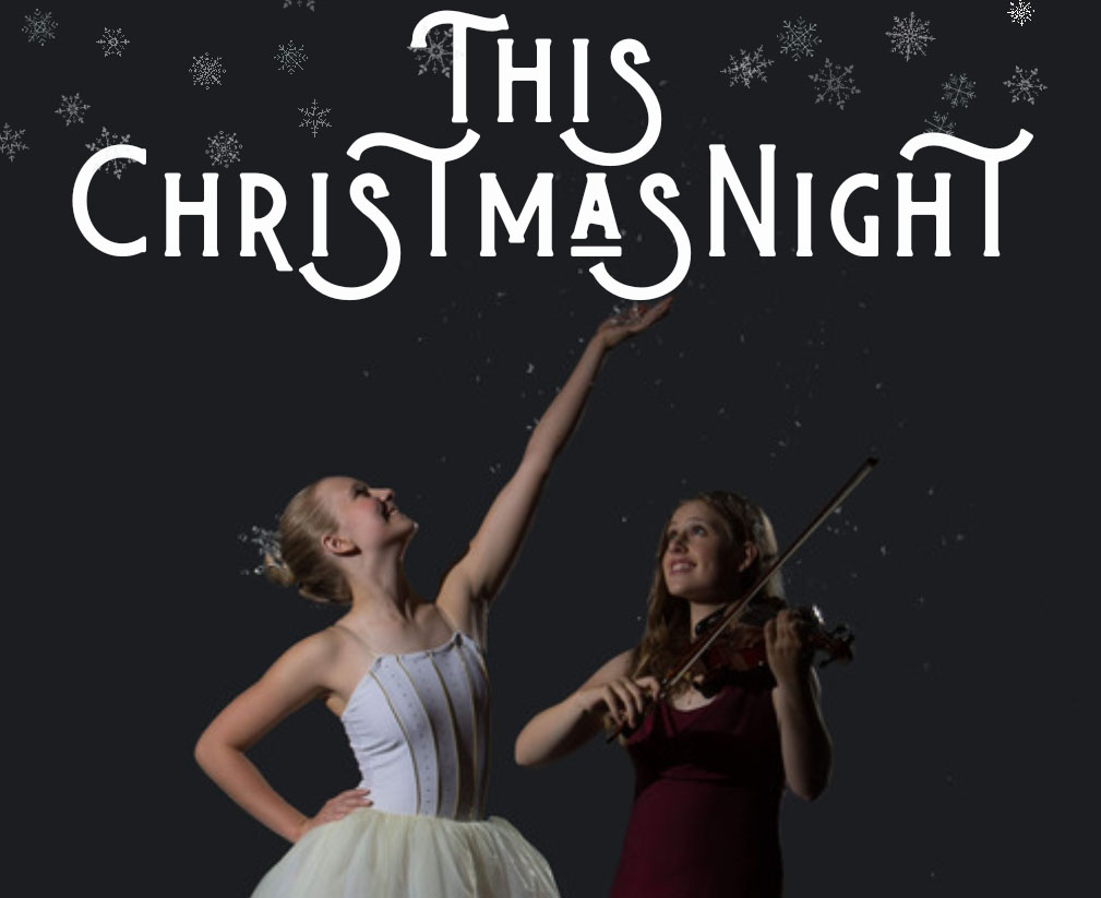 Ballerina Katherine Mellander and violinist Jacinta Howard pose during the photoshoot for This Christmas Night's flyer.
