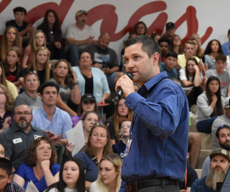 Sandpoint High principal David Miles talks to freshmen and their parents in this August 2019 photo. Miles talked to CP@3 host Connor Bird after spring break about the impact of the coronavirus closure.